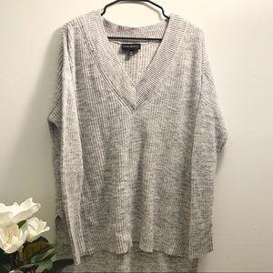 LANE BRYANT   V-neck Waffle Knit Hi-Low Sweater